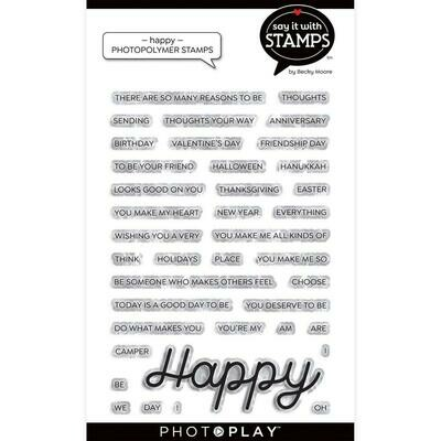 PhotoPlay Say It With Stamps Photopolymer Stamps Happy