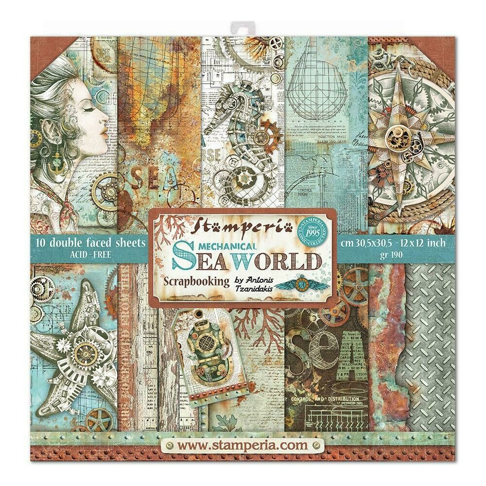 """Stamperia Double-Sided Paper Pad 12""""X12"""" 10/Pkg Sea World, 10 Designs/1 Each"""
