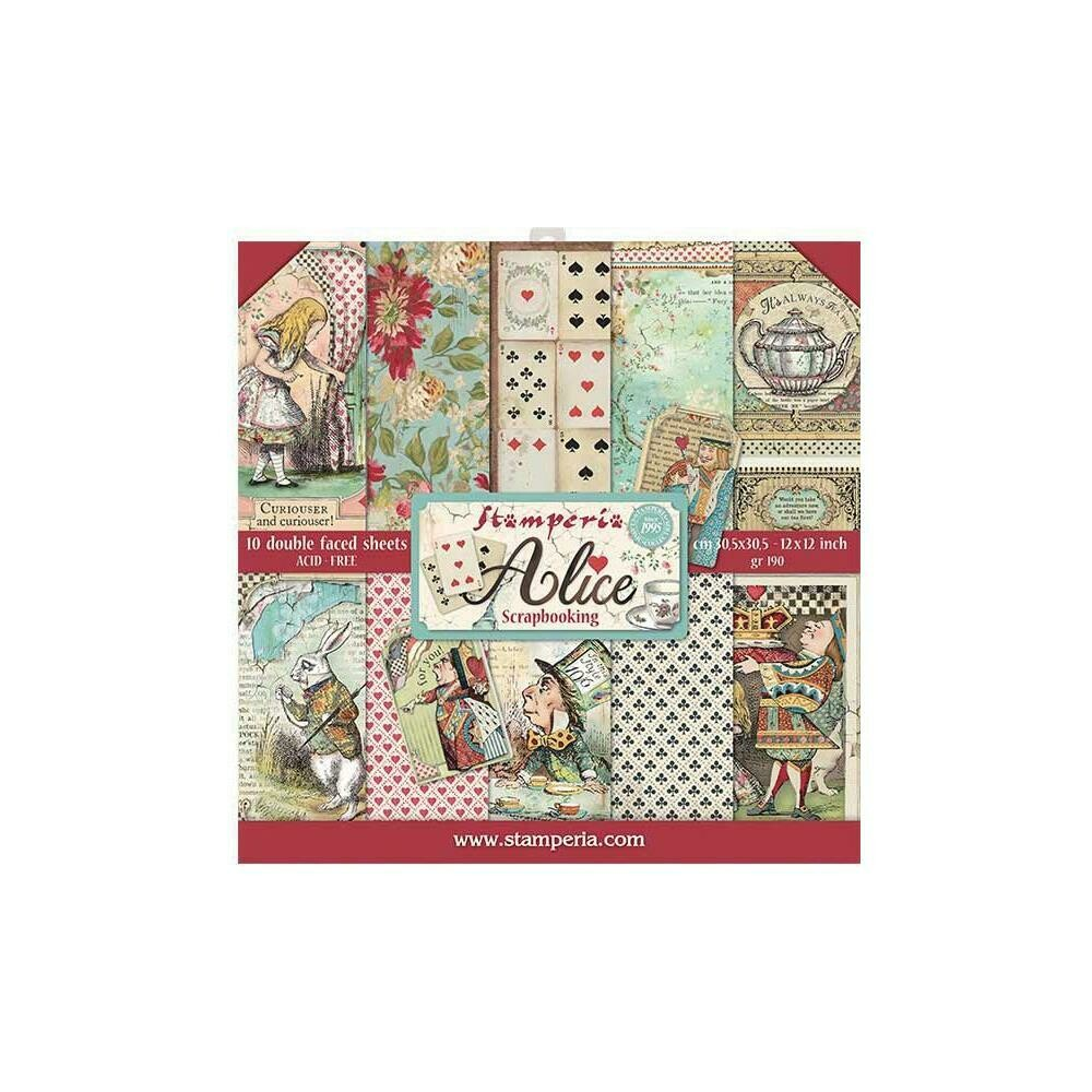 """Stamperia Double-Sided Paper Pad 12""""X12"""" 10/Pkg Alice, 10 Designs/1 Each"""