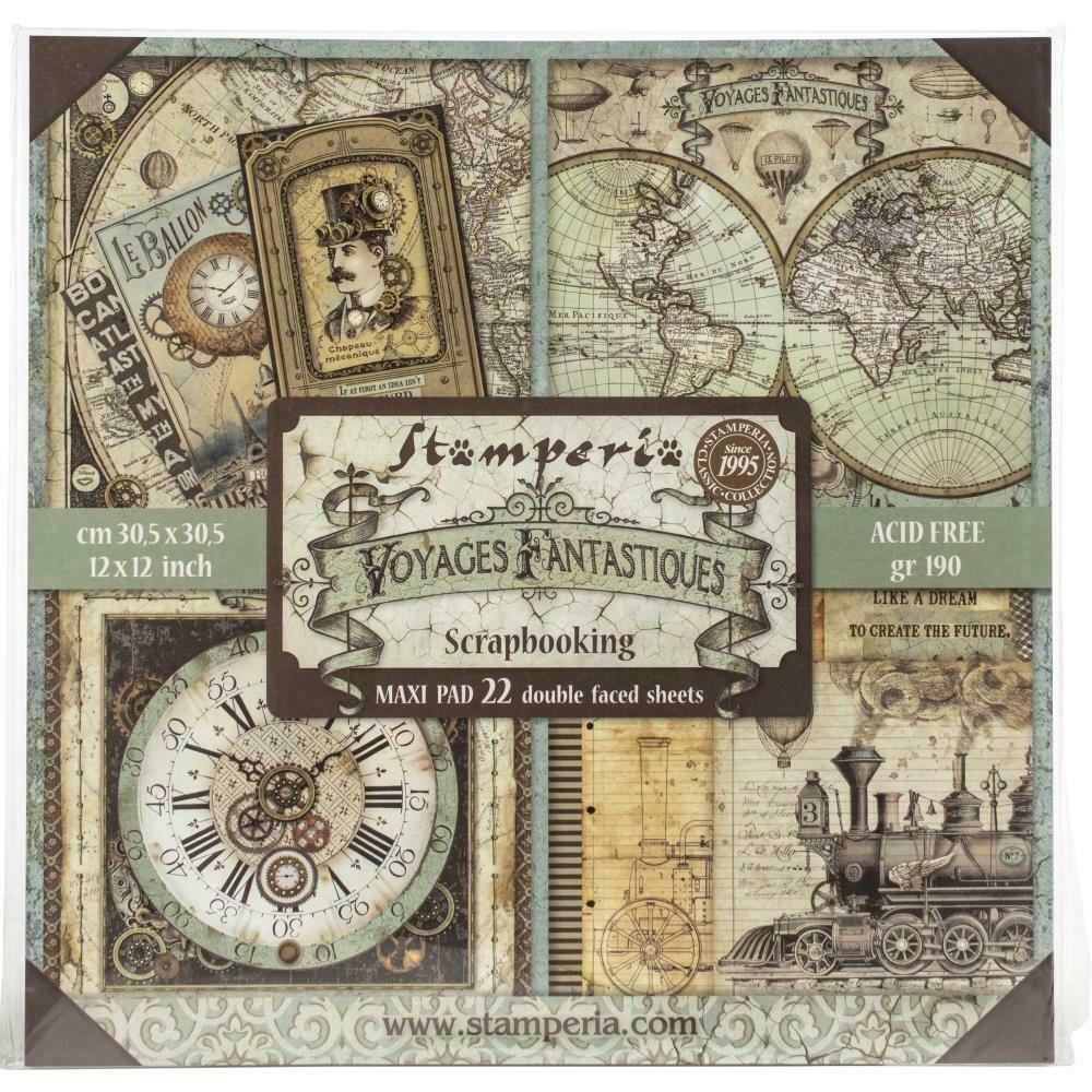 "Stamperia Double-Sided Paper Pad 12""X12"" 22/Pkg Voyages Fantastiques, 22 Designs/1 Each"