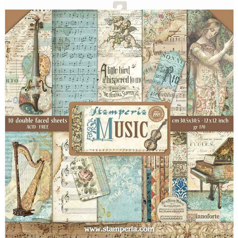 """Stamperia Double-Sided Paper Pad 12""""X12"""" 10/Pkg Music, 10 Designs/1 Each"""