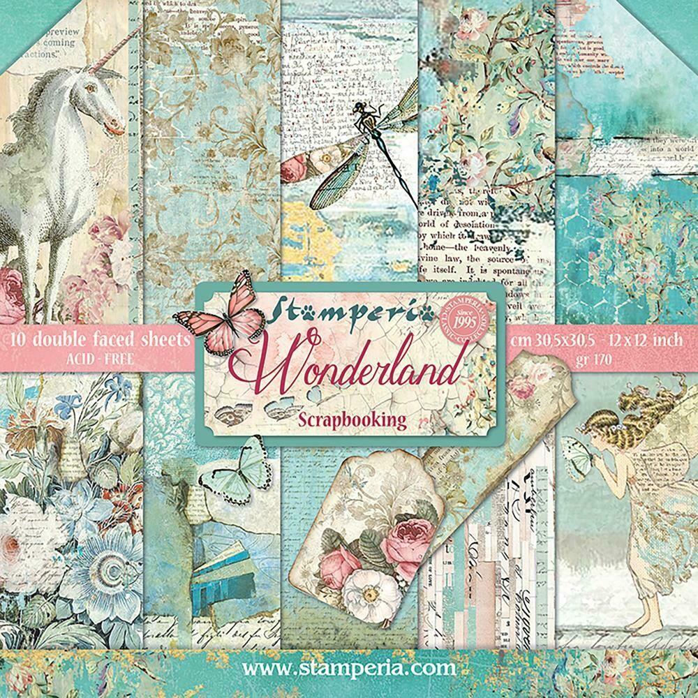 "Stamperia Double-Sided Paper Pad 12""X12"" 10/Pkg Wonderland, 10 Designs/1 Each"