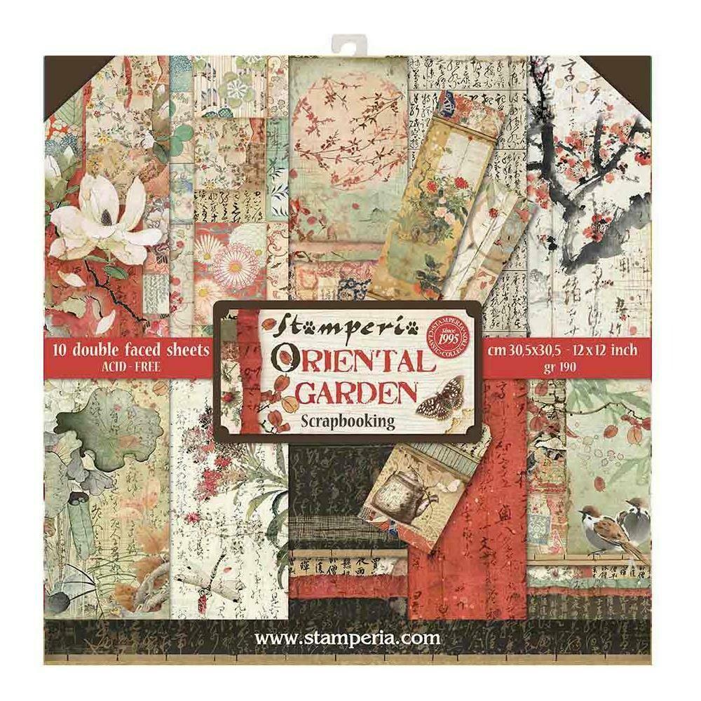 "Stamperia Double-Sided Paper Pad 12""X12"" 10/Pkg Oriental Garden, 10 Designs/1 Each"