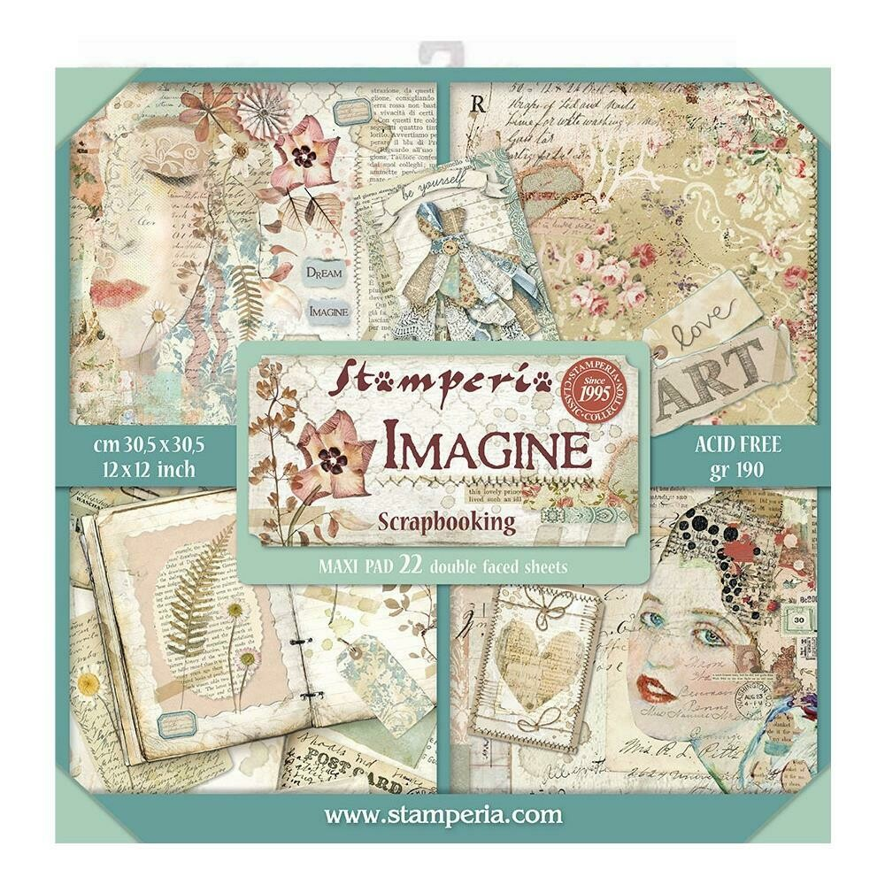 """Stamperia Double-Sided Paper Pad 12""""X12"""" 22/Pkg Imagine, 22 Designs/1 Each"""