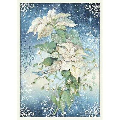 Stamperia Rice Paper Sheet A3 Poinsettia White, Winter Tales