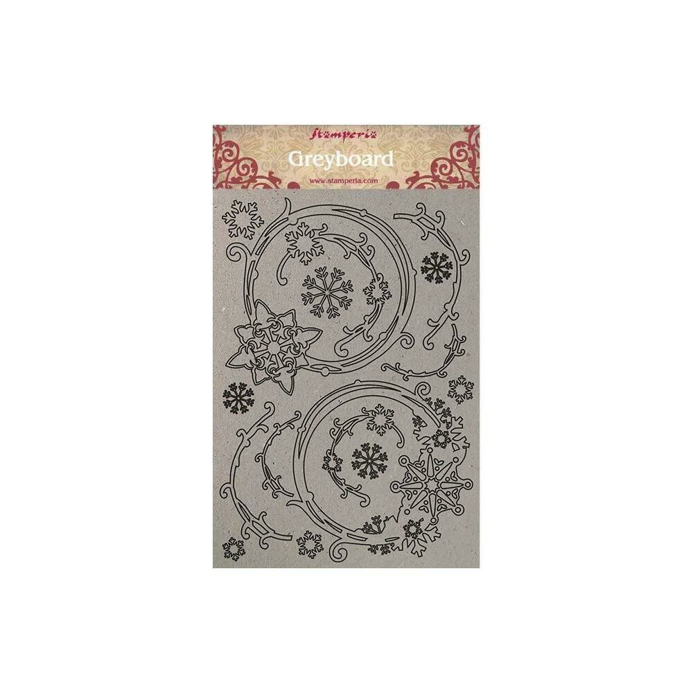 Stamperia Greyboard Cut-Outs A4 1mm Thick Snowflakes & Garlands, Winter Tales