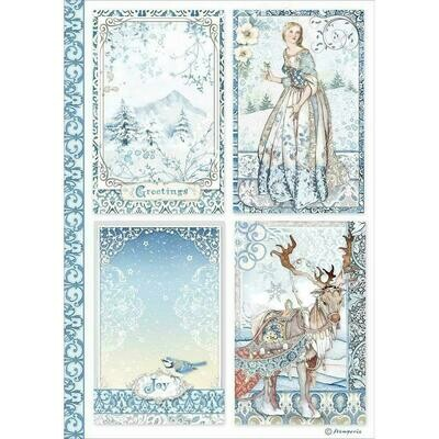 Stamperia Rice Paper Sheet A4 Cards, Winter Tales
