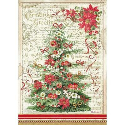 Stamperia Rice Paper Sheet A4 Greetings Tree, Classic Christmas