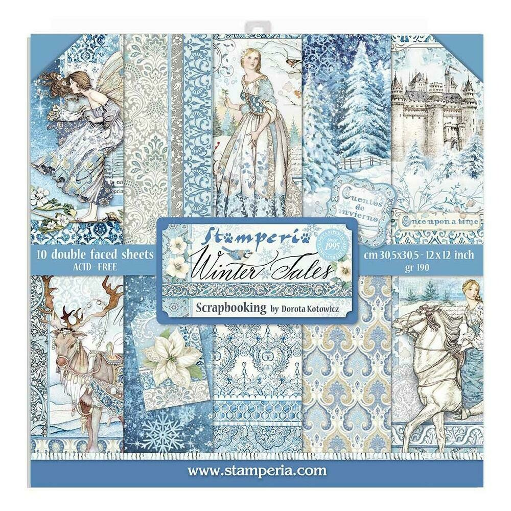 """Stamperia Double-Sided Paper Pad 12""""X12"""" 10/Pkg Winter Tales, 10 Designs/1 Each"""