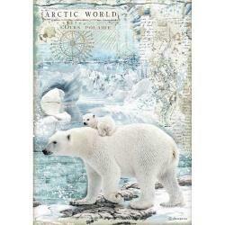 Stamperia Rice Paper Sheet A4 Polar Bears, Arctic Antarctic