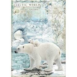 Stamperia Rice Paper Sheet A4 Polar Bears, Arctic Antarctic