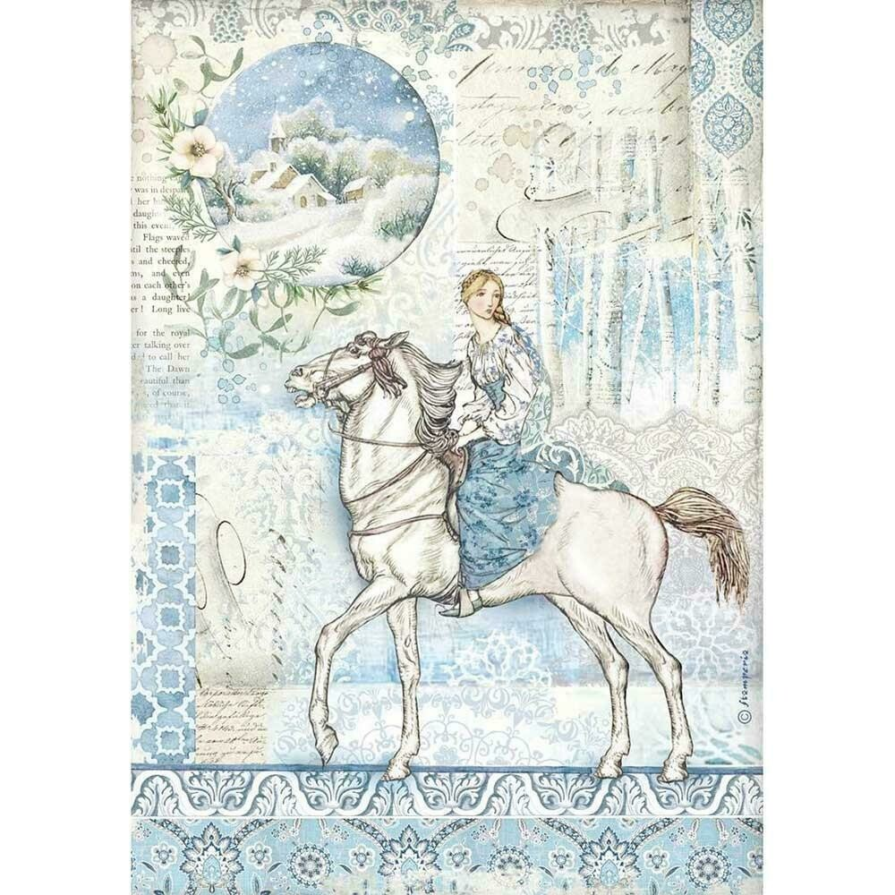 Stamperia Rice Paper Sheet A4 Horse, Winter Tales