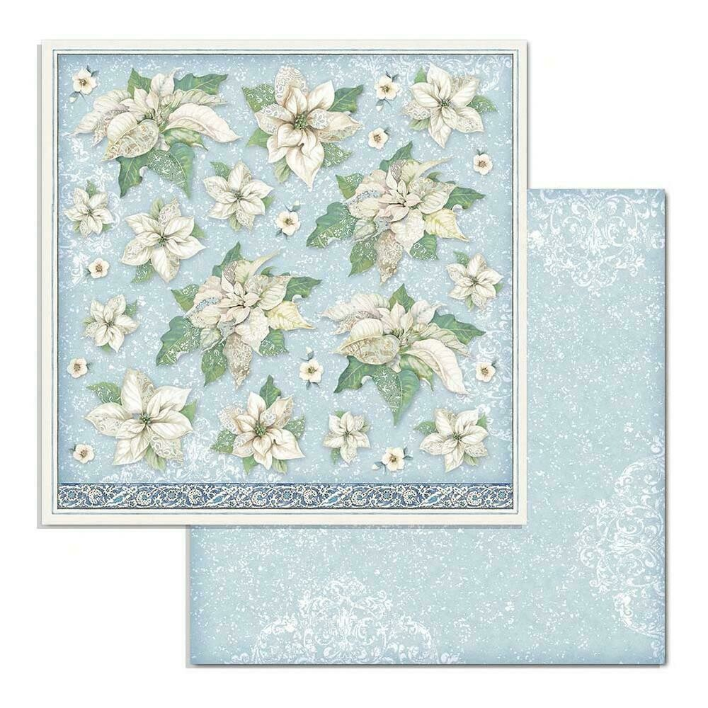 """Stamperia Double-Sided Cardstock 12""""X12"""" Poinsettia, Winter Tales"""