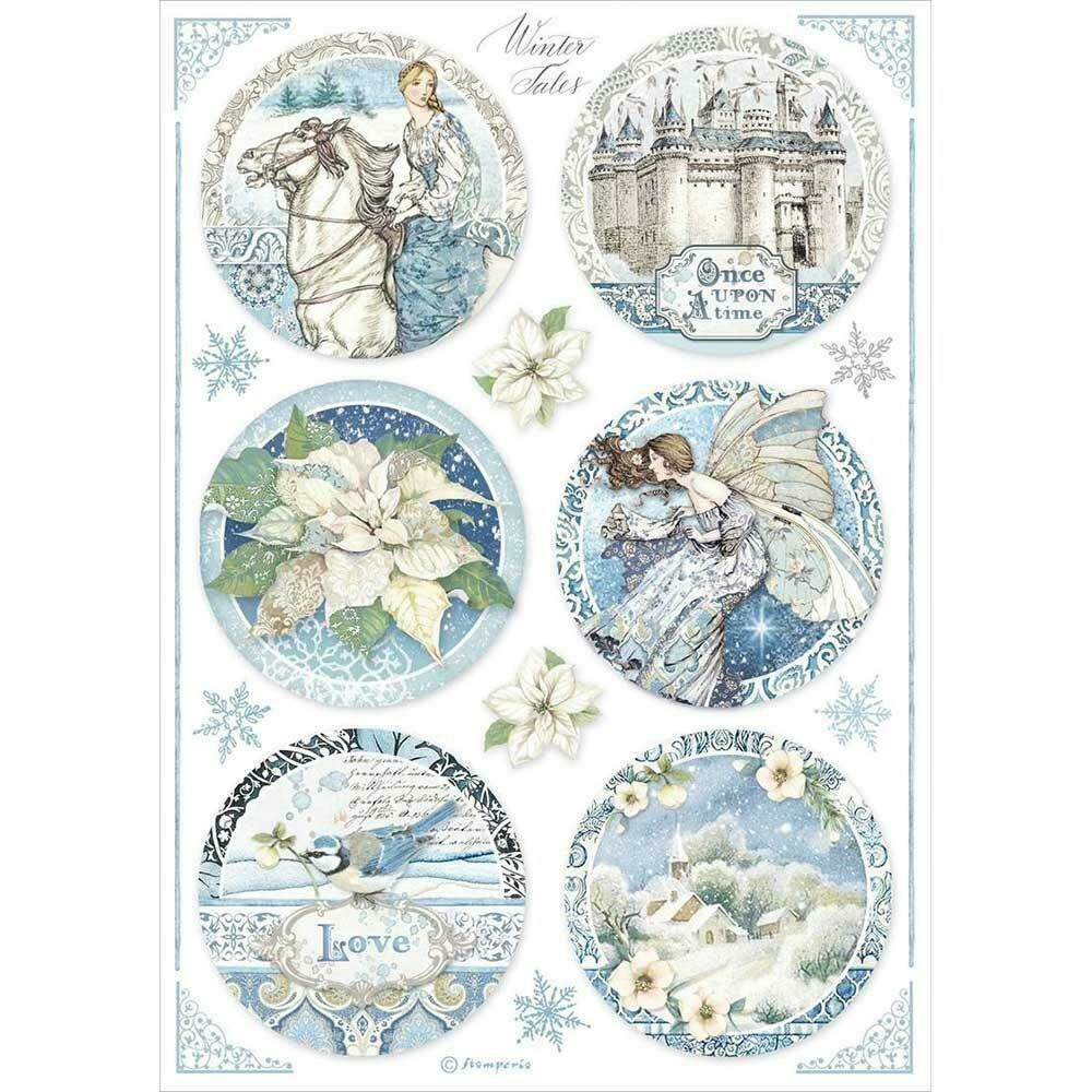 Stamperia Rice Paper Sheet A4 Round Castle, Winter Tales