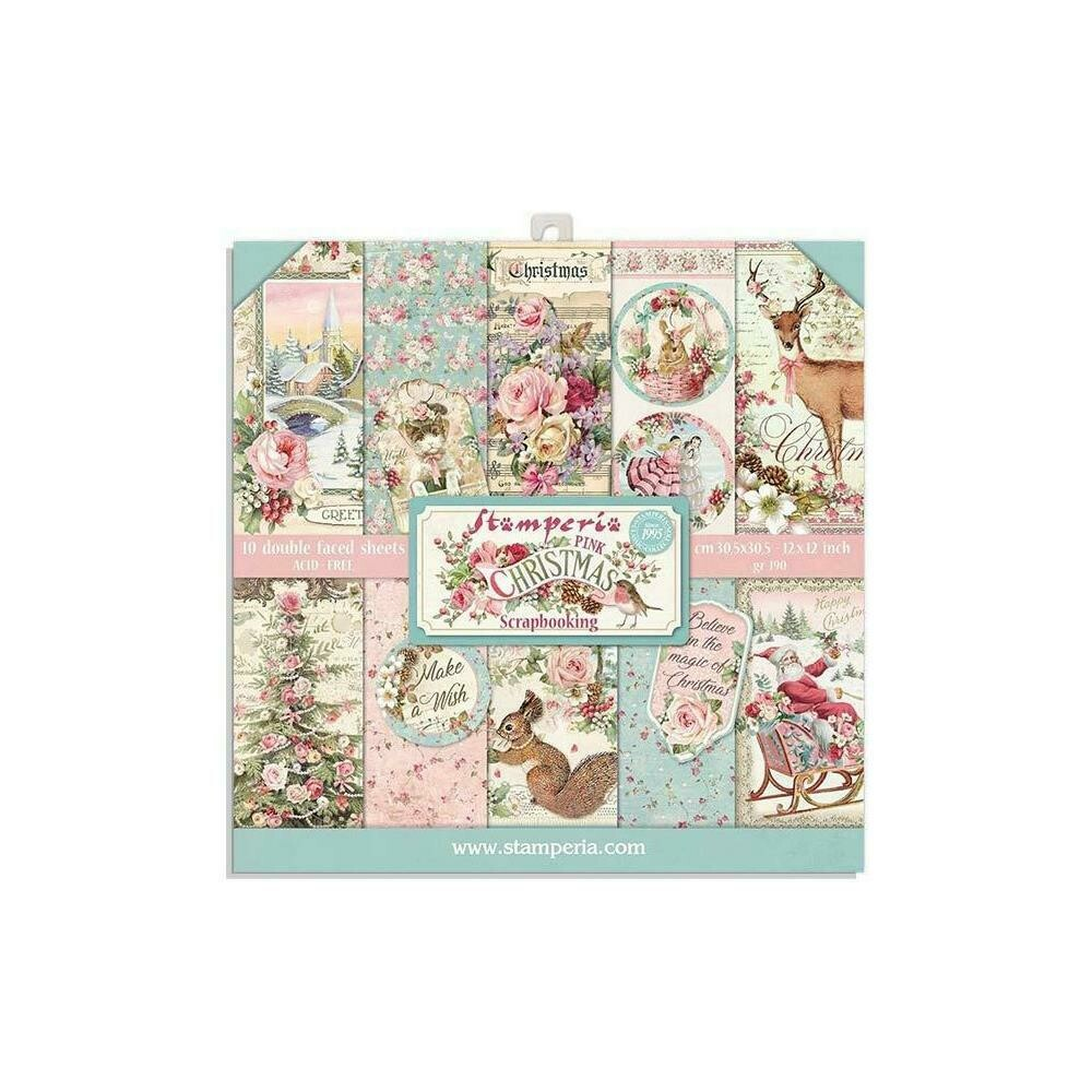 """Stamperia Double-Sided Paper Pad 8""""X8"""" 10/Pkg Pink Christmas, 10 Designs/1 Each"""
