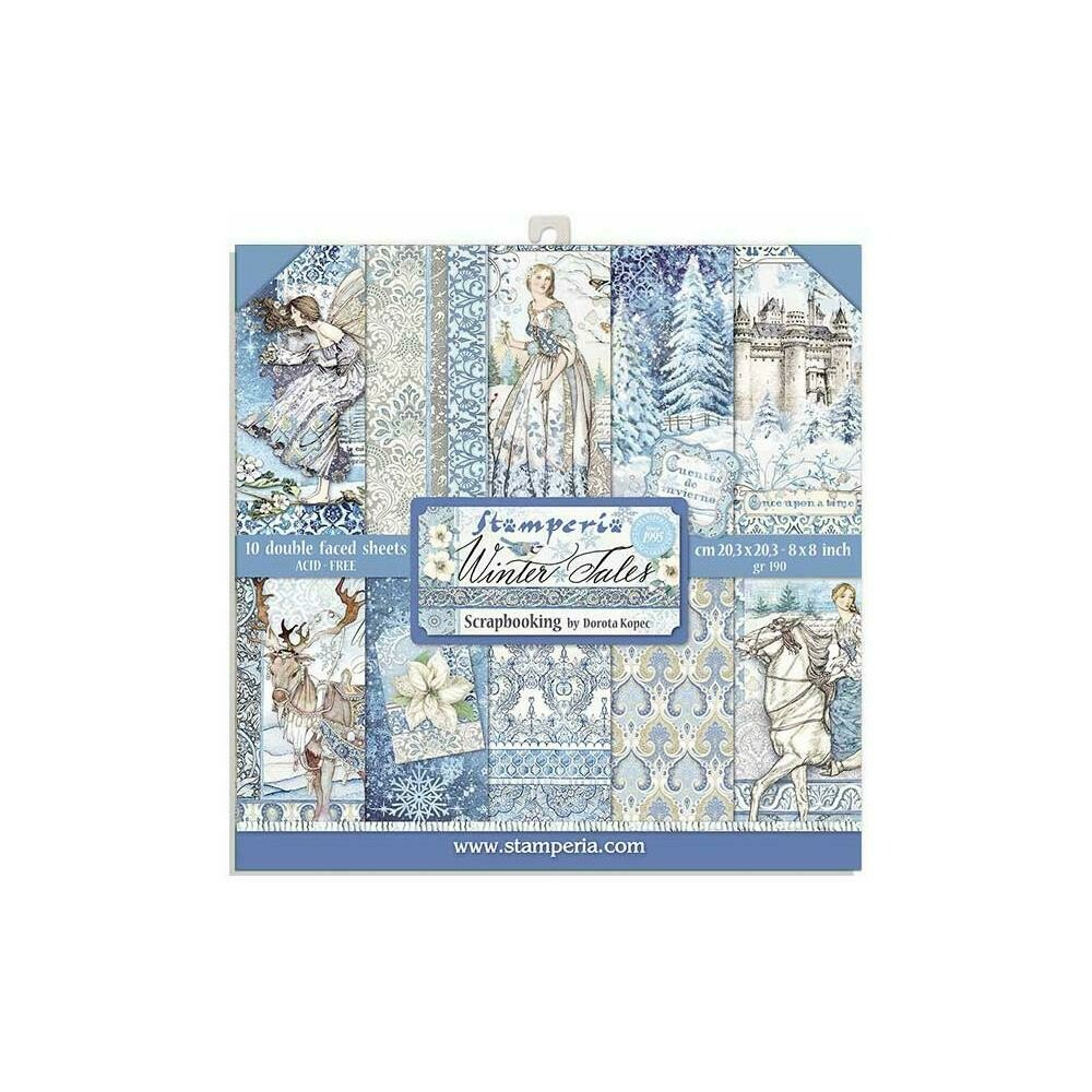 """Stamperia Double-Sided Paper Pad 8""""X8"""" 10/Pkg Winter Tales, 10 Designs/1 Each"""