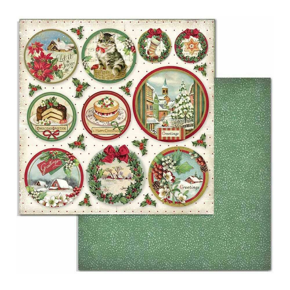 "Stamperia Double-Sided Cardstock 12""X12"" Rounds, Classic Christmas"