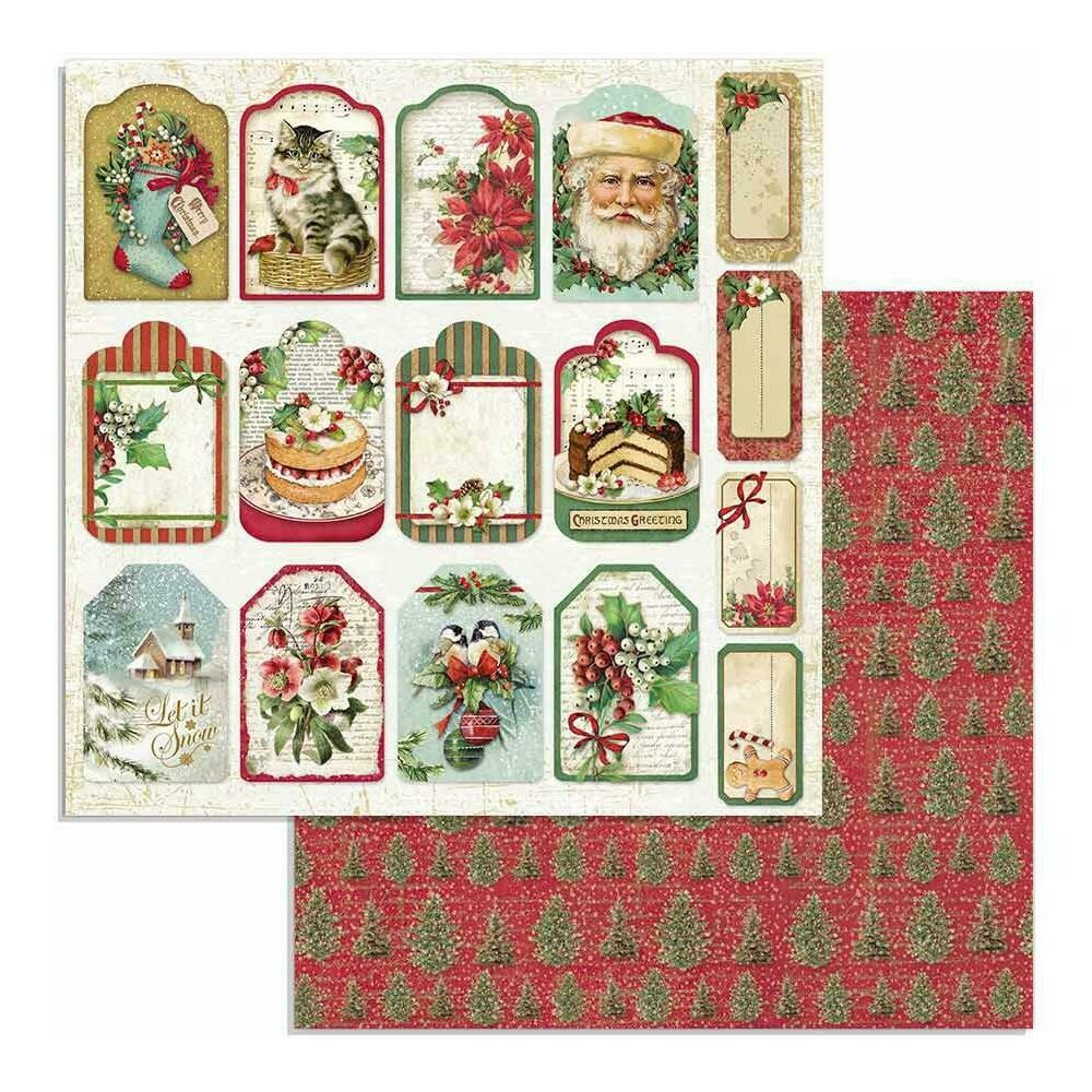 """Stamperia Double-Sided Cardstock 12""""X12"""" Tags, Classic Christmas"""