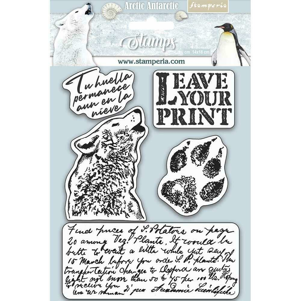 "Stamperia Cling Rubber Stamp 5.5""X7"" Leave Your Print, Arctic Antarctic"