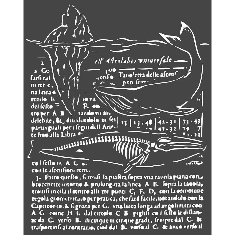 """Stamperia Stencil 7.87""""X9.84"""" Whale, Arctic Antarctic"""