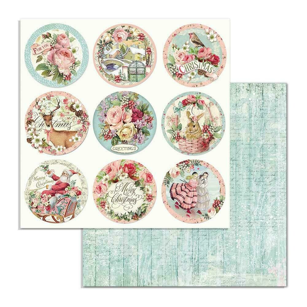 "Stamperia Double-Sided Cardstock 12""X12"" Rounds, Pink Christmas"