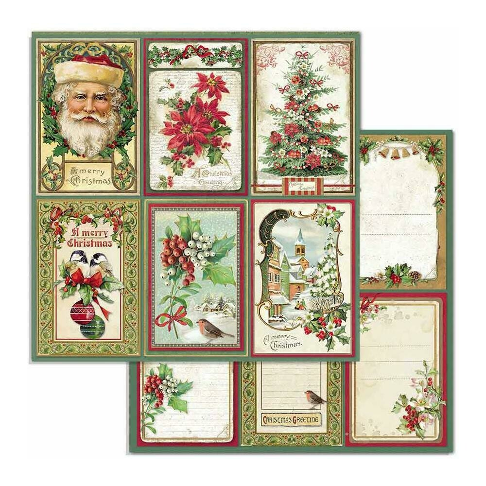"Stamperia Double-Sided Cardstock 12""X12"" Cards, Classic Christmas"
