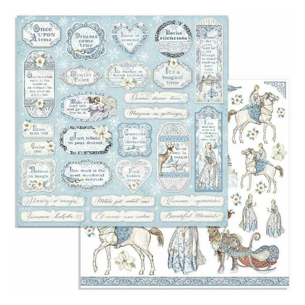 """Stamperia Double-Sided Cardstock 12""""X12"""" Tag & Frames, Winter Tales"""