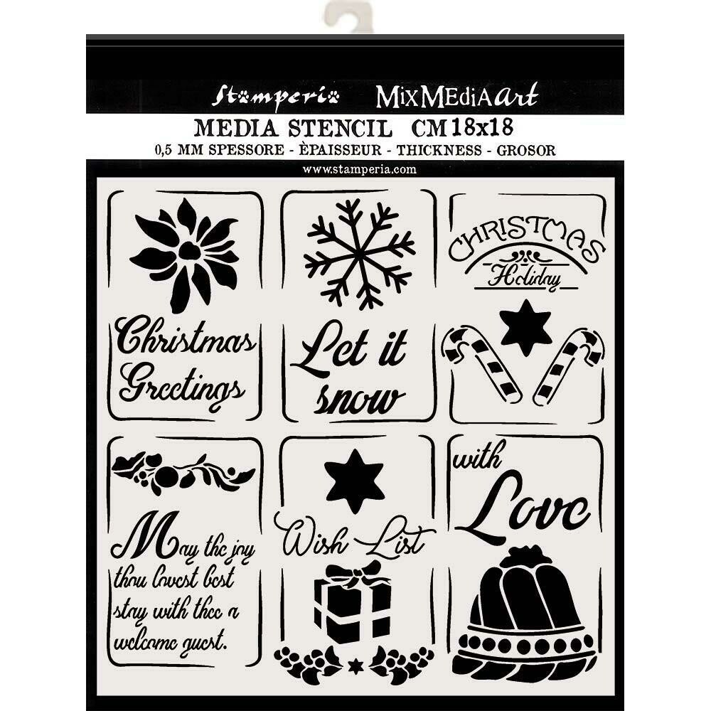 "Stamperia Stencil 7.08""X7.08"" Christmas Tags"
