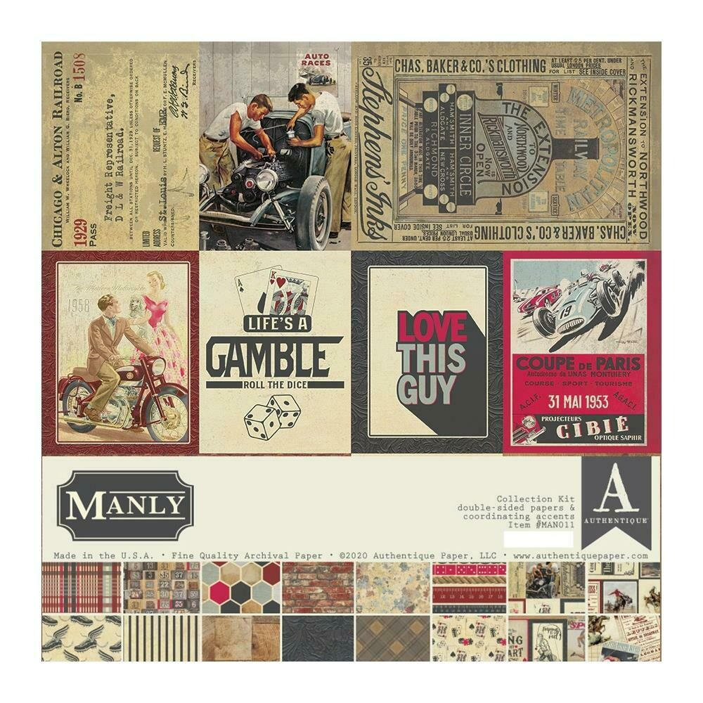 """Authentique Collection Kit 12""""X12"""" Manly"""