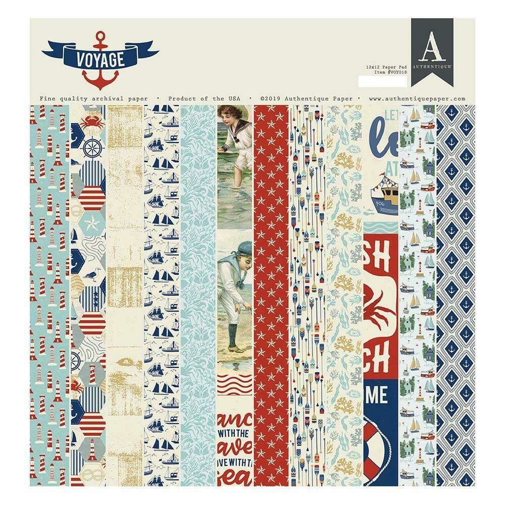 "Authentique Double-Sided Cardstock Pad 12""X12"" 24/Pkg Voyage"