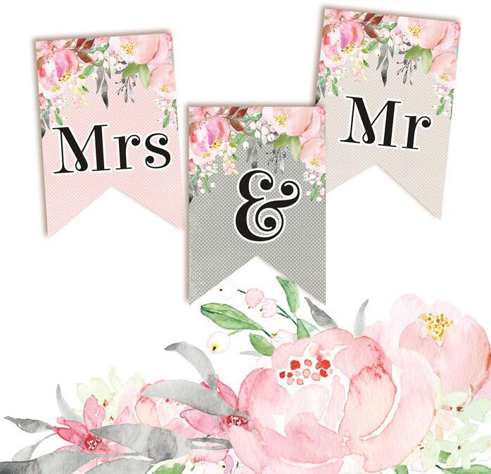 P13 Die Cuts, Love in Bloom - Mr & Mrs (Garland)