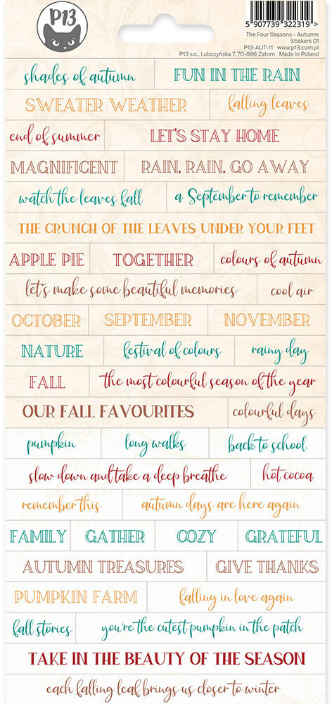P13 Sticker Sheet, The Four Seasons - Autumn 01