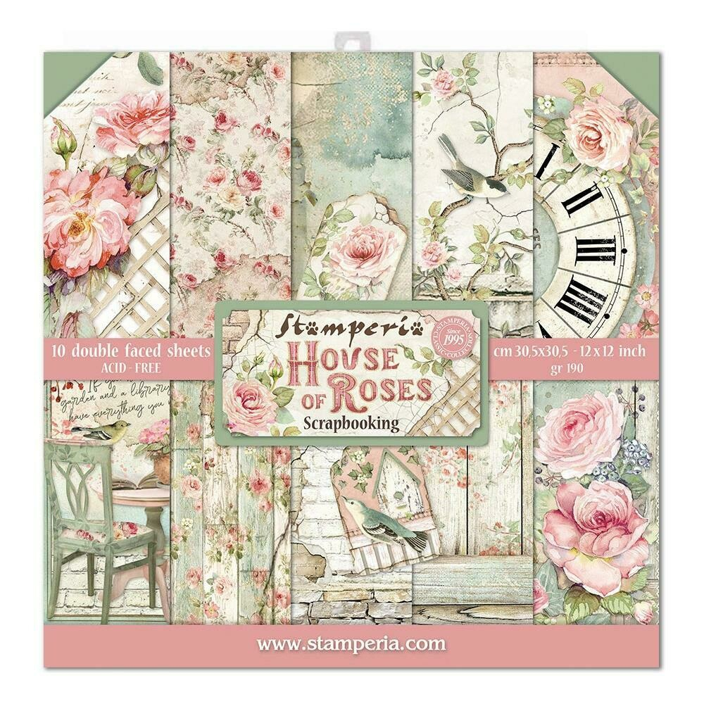 "Stamperia Double-Sided Paper Pad 12""X12"" 10/Pkg House Of Roses, 10 Designs/1 Each"