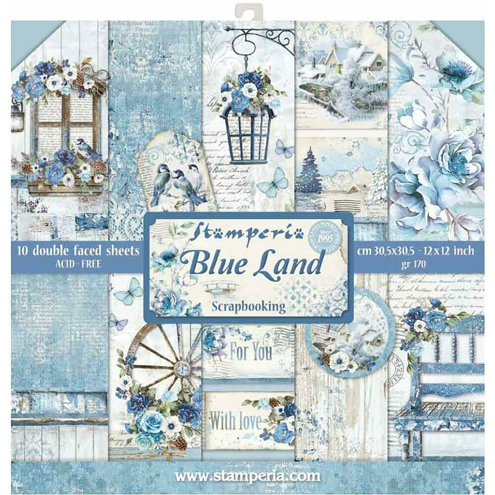 "Stamperia Double-Sided Paper Pad 12""X12"" 10/Pkg Blue Land, 10 Designs/1 Each"