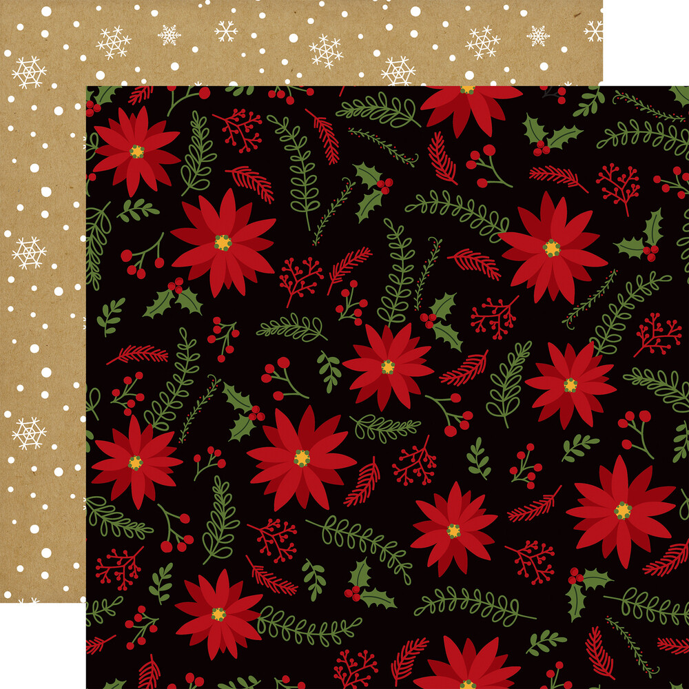 """Echo Park Celebrate Christmas Collection - HOLLY JOLLY 12"""" x 12"""" sheet"""