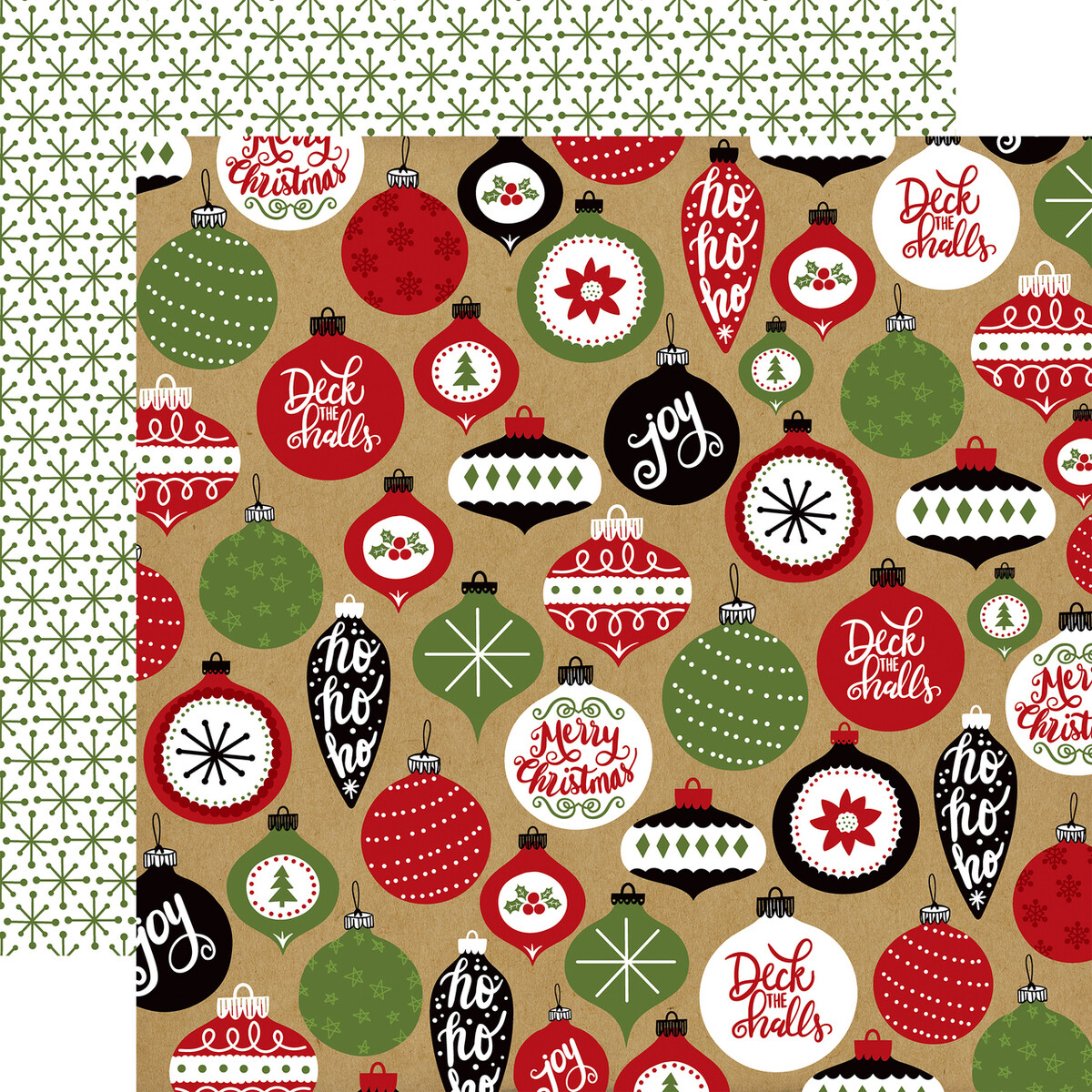 "Echo Park Celebrate Christmas Collection - DECK THE HALLS 12"" x 12"" sheet"