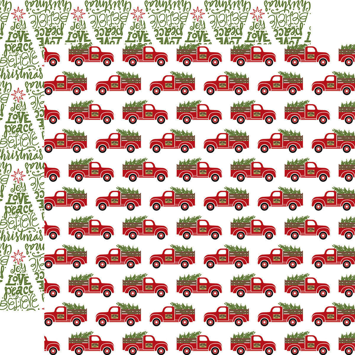 "Echo Park Celebrate Christmas Collection - FRESH CUT TREES 12"" x 12"" sheet"