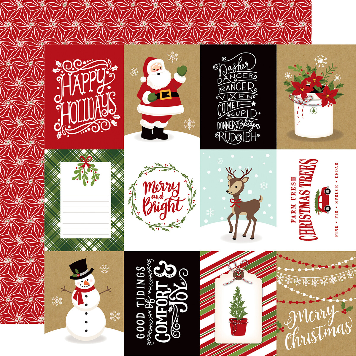 """Echo Park Celebrate Christmas Collection - 3X4 JOURNALING CARDS 12"""" x 12"""" sheet"""
