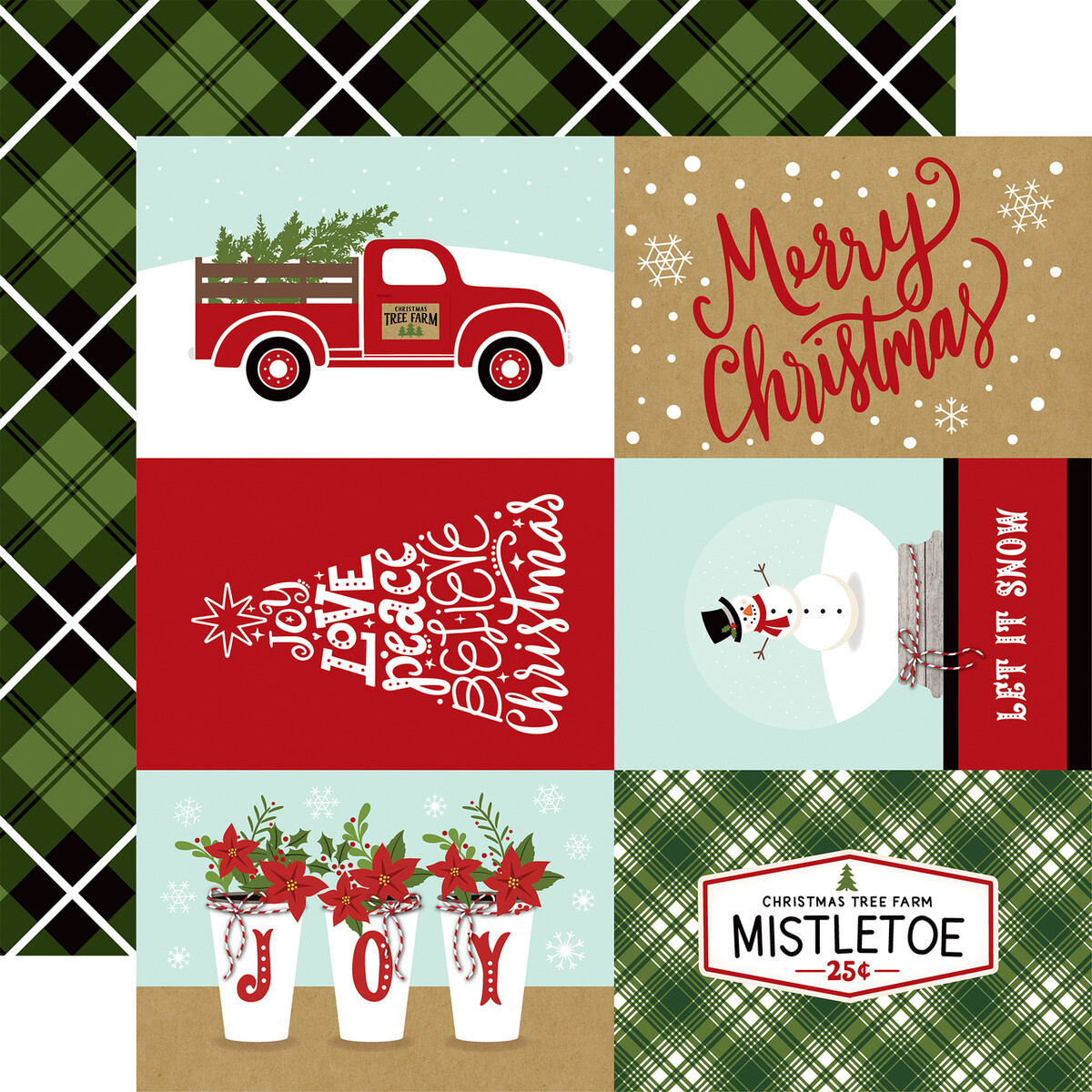 """Echo Park Celebrate Christmas Collection - 4X6 JOURNALING CARDS 12"""" x 12"""" sheet"""