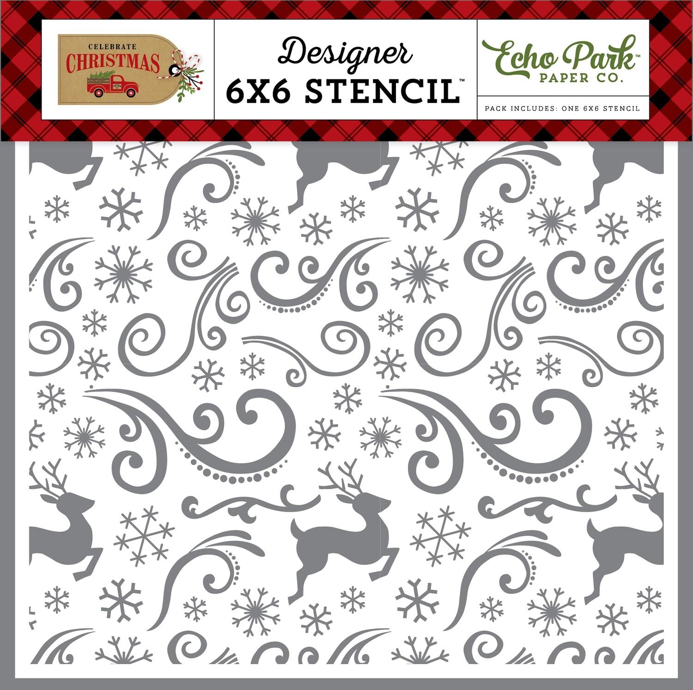 Echo Park Celebrate Christmas REINDEER SWIRL 6X6 STENCIL