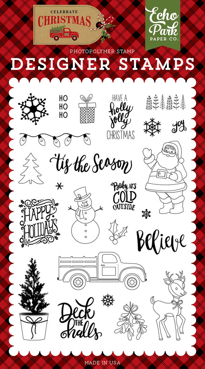 Echo Park - Celebrate Christmas - DELIVER CHRISTMAS 4X6 STAMP AND DIE COMBO