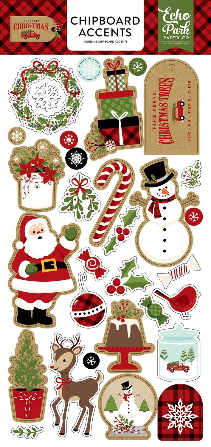 """Celebrate Christmas Chipboard 6""""X13"""" Accents"""