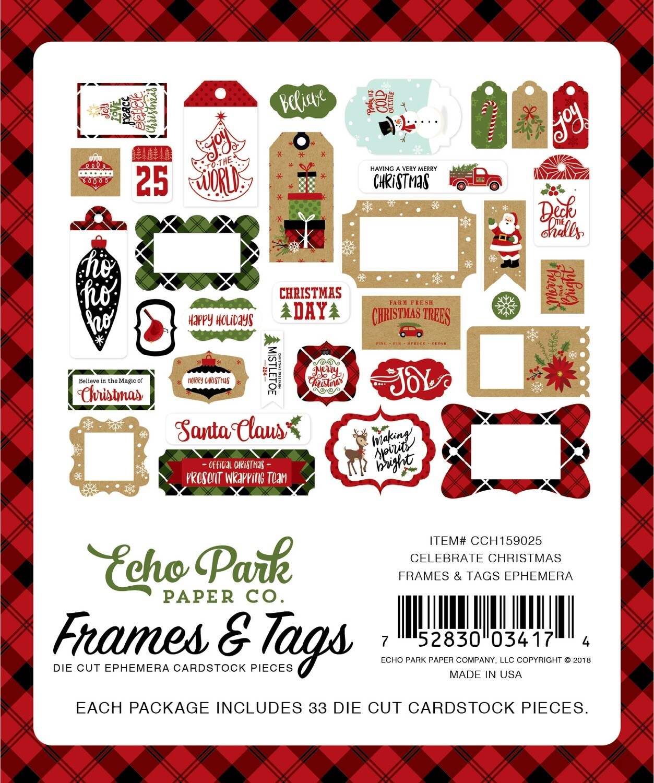 Echo Park Celebrate Christmas 33/Pkg Frames & Tags