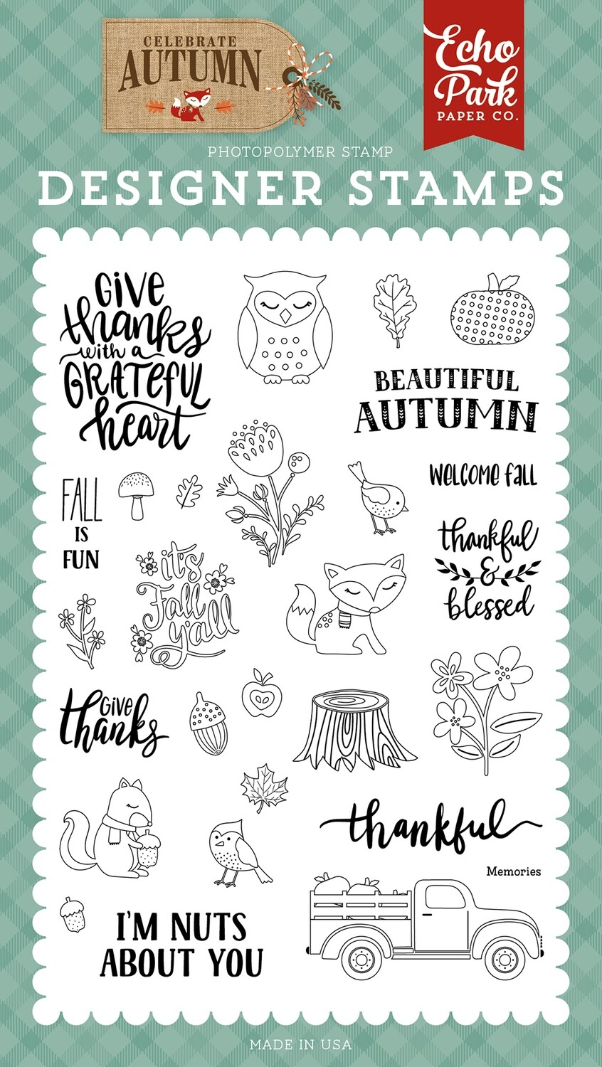 Echo Park Celebrate Autumn Stamp Set Nuts About You