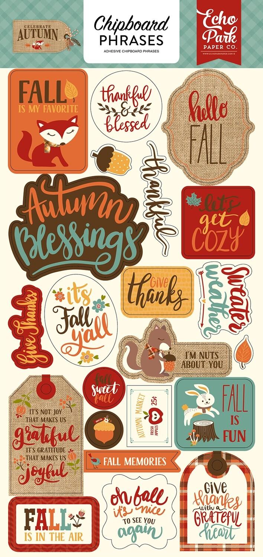 "Celebrate Autumn Chipboard 6""X13"" Phrases"