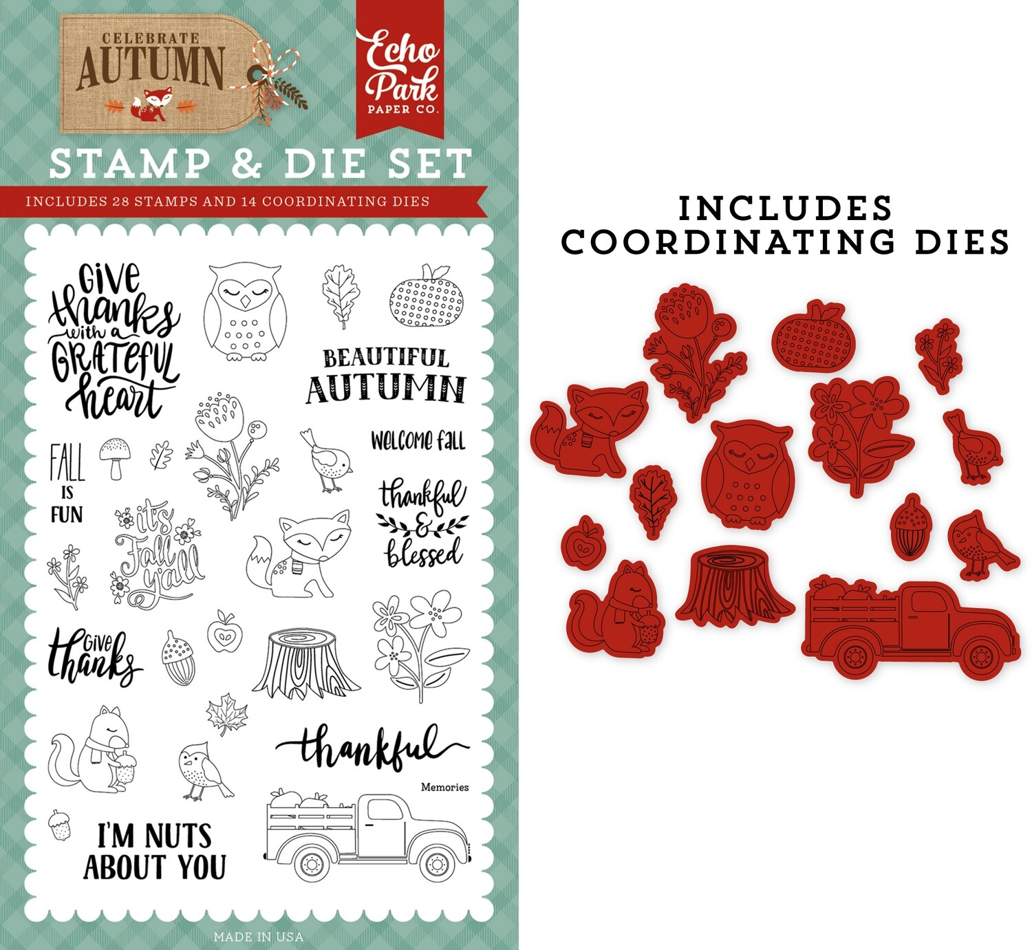 Echo Park Celebrate Autumn 4X6 Stamp and Die Set Nuts about You