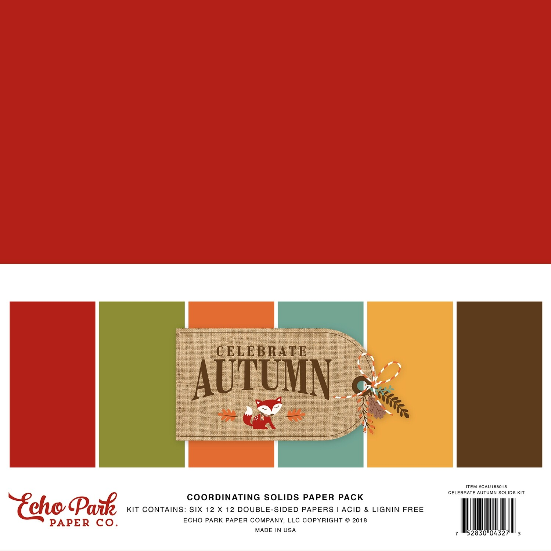 "Echo Park Double-Sided Solid Cardstock 12""X12"" 6/Pkg Celebrate Autumn, 6 Colors"