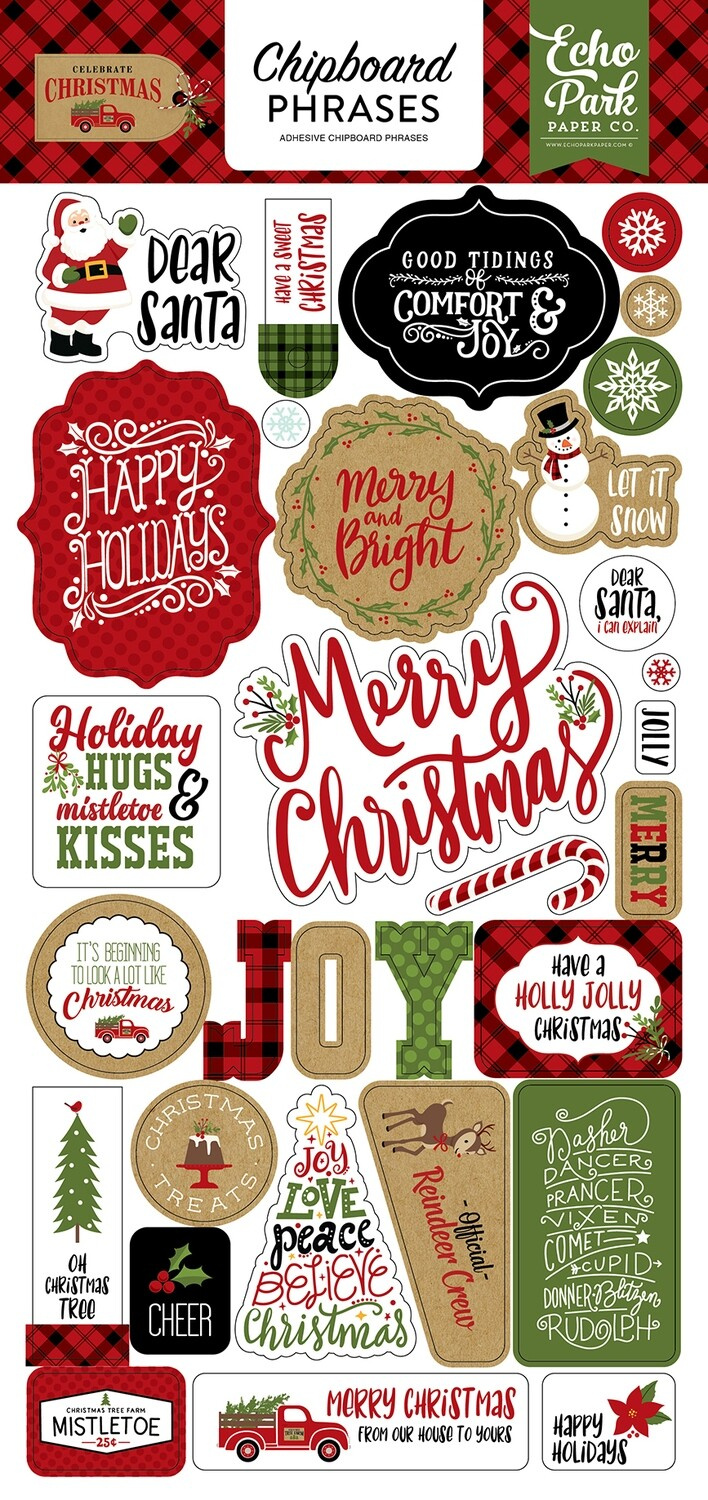 """Celebrate Christmas Chipboard 6""""X13"""" Phrases"""