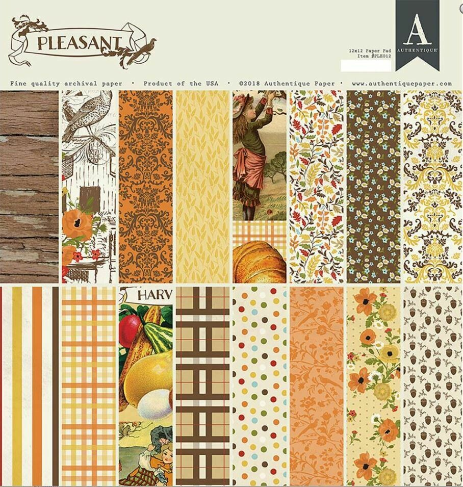Authentique Pleasant 12 x 12 paper pad 24 double sided cardstock sheets