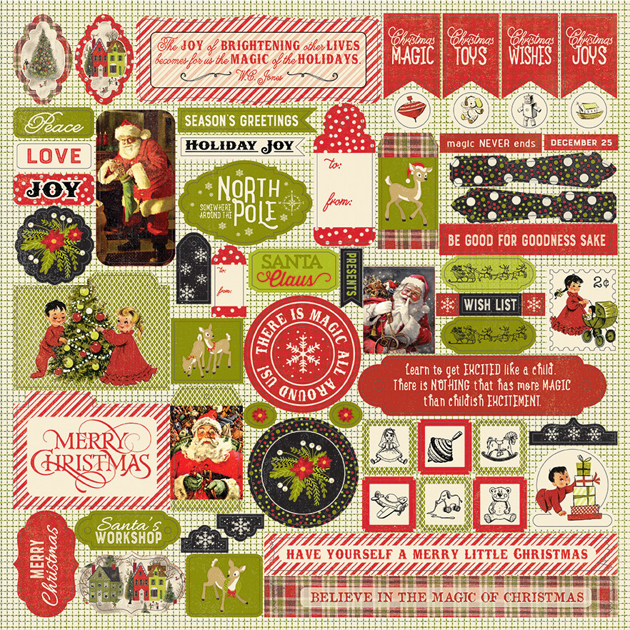"""Authentique A Magical Christmas Cardstock Stickers 12""""X12"""" Details"""